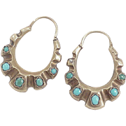 Victorian Etruscan Revival Earrings 14k Gold Persian Turquoise, Hoop Style