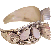 Vintage Native American Crafted Watch Cuff Bracelet Sterling Silver & Pink Mother Of Pearl