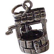Vintage Moving Wishing Well Charm Sterling Silver, Three Dimensional