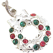 Vintage Holiday Wreath Charm Sterling Silver Rhinestone Accent circa 1960's