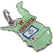 Vintage Sterling Silver US State Charm ~ West Virginia, Colorful Fire Glazed Glass Enamel