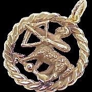 Vintage Zodiac 14k Gold Charm / Pendant ~ Sagittarius circa 1970's