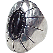 REDUCED Zuni Hand Crafted Ring Sterling Silver & Black Onyx, Sheyka