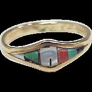 Vintage Zuni Crafted Ring 14k Gold Intarsia Gemstone Inlay