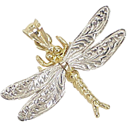 Vintage 14k Gold Charm ~ Dragonfly, Three Dimensional, Two-Tone circa 1980's