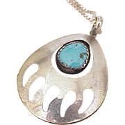 Native American Crafted Pendant / Necklace Bear Claw Turquoise Accent