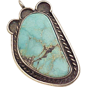 Vintage Native American Pendant Sterling Silver & Turquoise circa 1960's