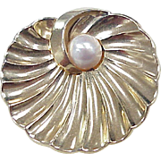 Vintage Boucher Brooch, Gold Tine With Cultured Pearl Accent circa 1951