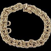 Vintage Solid Double Link Charm Bracelet 14k Gold 22.3 Grams circa 1960's