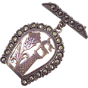 Georgian Brooch ~ Scottish, Hunt Motif, Stag & Thistle Inside Marcasite Encrusted Horsesho