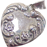 Vintage Sterling Silver Puffed Heart Charm / Pendant Ornate Forget Me Not Floral Accent