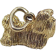 SOLD Vintage 14k Gold Maltese Dog Charm circa 1960-70's, Three Dimensional