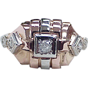 Vintage Retro Diamond Ring 14k Rose & White Gold c. 1940's