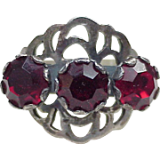 Impressive Russian Sterling Silver Vintage Ring With Faux Ruby Gemstones