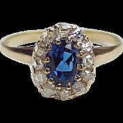 Victorian Era Gemstone Ring Sapphire Blue Spinel & Rose Cut Diamonds, 1.53 Carats Gem Weight
