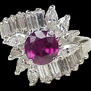 Beautiful Natural Ruby & Diamond Platinum Ring, 3.78 Carat Gem Weight
