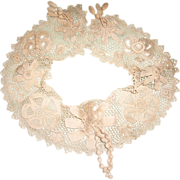 SOLD Ornately worked Irish Crochet Edwardian dress collar flowers butterflies doll clothing st