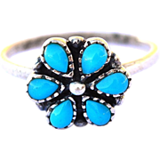 SALE Beautiful Sterling Silver Navajo Turquoise Flower Ring Size 6 1/2