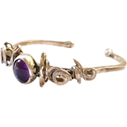 Brutalist Sterling Silver Baby Bracelet with Purple Stone