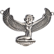 SALE Spectacular .835 Silver Old Egyptian Goddess necklace Pendant