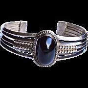 SALE Black Onyx Sterling Silver Bracelet .925 Vintage