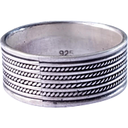 SALE Mens wide sterling silver wire rope ring Size 12 1/2