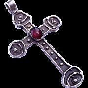 SALE Modernist Sterling Silver Cross Necklace Pendant Signed K. Harper