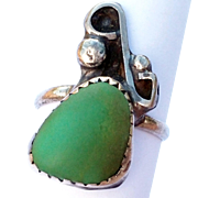 Vintage Natural Green Stone Ring Sterling Silver