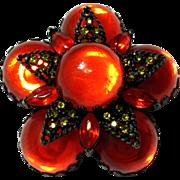 SALE Vintage Layered Orange colored  Pin Brooch