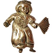 SALE Sterling Silver  Brookraft China Doll Girl Pin / Brooch 925