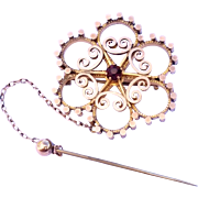 SALE Stunning Victorian Garnet Pin Brooch with Safety Pin Beauty