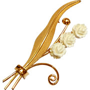 Vintage Gold Filled carved Celluloid Flower Pin C.R. Co 12k GF