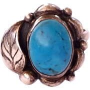 SALE Stunning hand made sterling silver turquoise ring Size 7 3/4