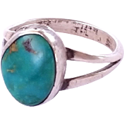 SALE Sterling Silver Navajo Turquoise Ring Size 10