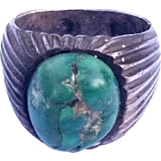 SALE Old Pawn Sterling Silver Green Turquoise Ring Navajo Native American Size 7 3/4