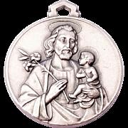 SALE Sterling Silver Saint Joseph Jesus Pendant Charm