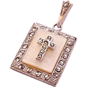 SALE Unique Vintage Theda Sterling Silver Mother of Pearl Macasite Cross Pendant