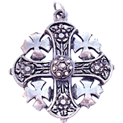Rare Jerusalm Silver Crusaders Maltese Cross Pendant 1940's""
