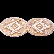 SALE Antique rose tri-gold filled Masonic Mason's Cufflinks