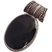 Beauty Large Sterling Silver Black Onyx Necklace Pendant