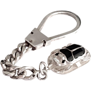 Very Nice Sterling Silver Enamel Scarab Beetle Keychain