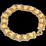 "SALE Beautiful Gold Washed Sterling Silver Heart Bracelet 6 3/4"""