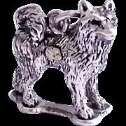 SALE Alaskan Malamute Dog Charm Sterling 3D Vintage Samoyed Husky Sled w/Gold Nugget