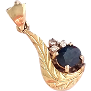 SALE 14k Yellow Gold Blue Sapphire Diamond Pendant Exquisite