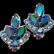 Vintage Blue Lagoon Sarah Coventry Rhinestone clip Earrings