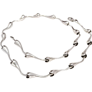 """SALE Ultra Cool Contemporary Modernist articulated sterling silver necklace 16"""" 25.3g"""