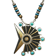 "SALE Toño Piedra Negra Pendant & Necklace Sterling, Turquoise, Brass 23"" Long Circa"