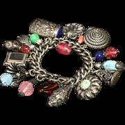 "SALE 1950s Napier Atruscan Charm Bracelet .800 Silver Medium Patina Size 7.5 "" Long Heavy"