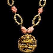 SALE Tortolani Crislu Japenese Demi Parure Set Salmon Peking Twisted Glass Necklace & Earrings