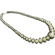 """SALE Large Navajo Sterling Silver Handmade Stamp Seed Bead Necklace 23"""" Long 77.4 Grams ."""